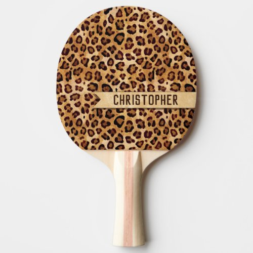 Rustic Texture Leopard Print Add Name Ping Pong Paddle