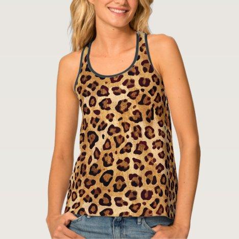 Rustic Texture Leopard Print Tank Top