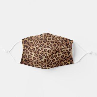 Rustic Texture Leopard Skin Print Spots Brown Cloth Face Mask