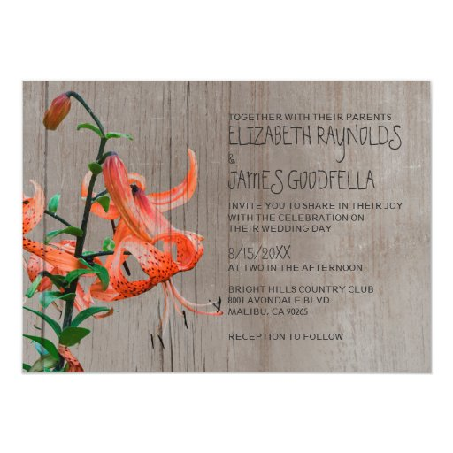 Tiger Lily Wedding Invitations Embossed
