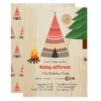 Rustic Tipi Camp Out Birthday Party Invitation