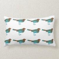 Rustic Turquoise Bird Lumbar Pillow