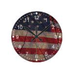 Rustic US Flag Segment Over Cracked Dark Wood Round Clock