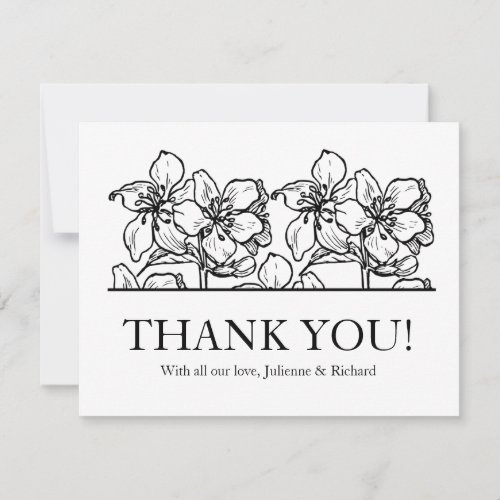 Rustic Vintage Floral Wedding Thank You Card