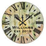 Rustic Vintage  Personalized Wood Custom Large Clock