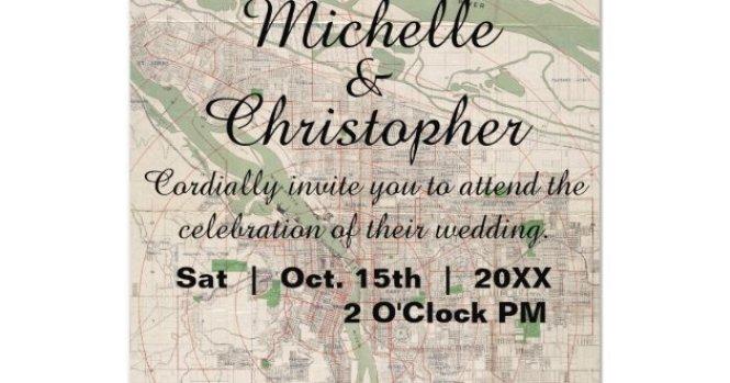 Rustic Vintage Portland Oregon Wedding Invitation Zazzle Com