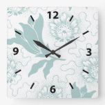 Rustic Vintage Teal White Farmhouse Style Floral Square Wall Clock