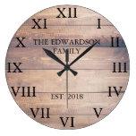 Rustic vintage wood Roman numbers family name Large Clock