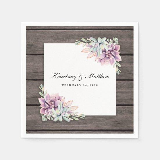 Rustic Watercolor Succulent Floral Paper Napkins