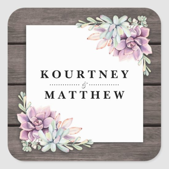 Rustic Watercolor Succulent Floral Wedding Square Sticker
