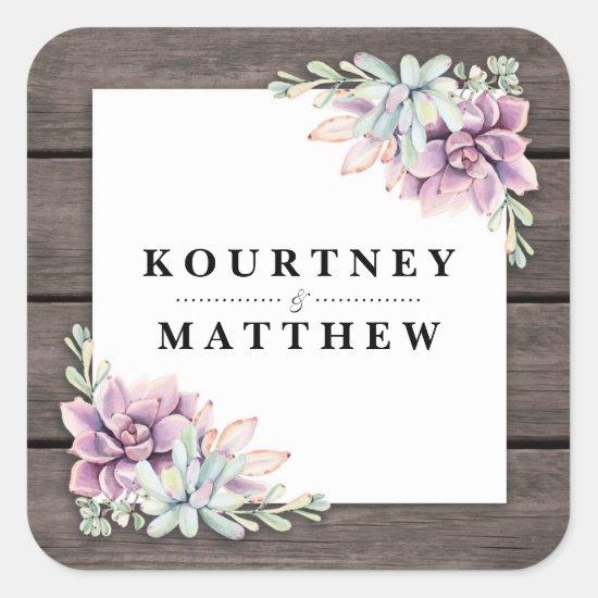 Rustic Watercolor Succulent Floral Wedding Square Sticker