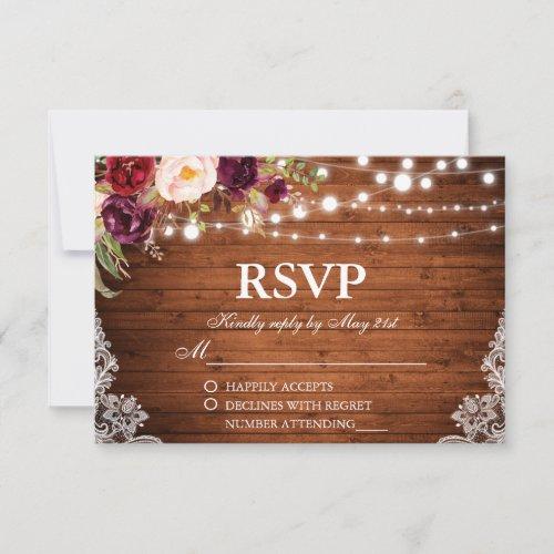 Rustic Wedding Wood Lights Lace Floral RSVP