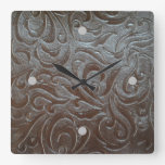 Rustic western country pattern tooled leather square wallclock