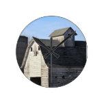 Rustic white barn round clock