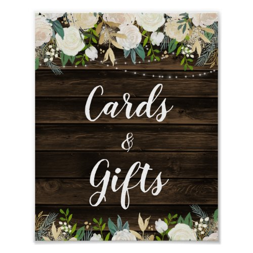 Rustic White Floral String Lights Cards &amp&#x3B; Gifts Poster