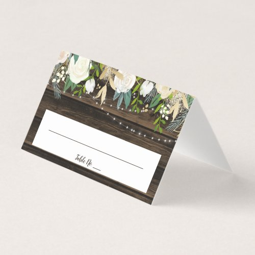 Rustic White Floral String Lights Wedding Folded Place Card