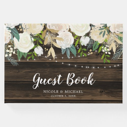 Rustic White Floral String Lights Wedding Guest Book