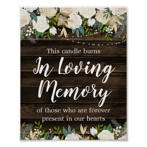 Rustic White Floral String Lights Wedding Memorial Poster