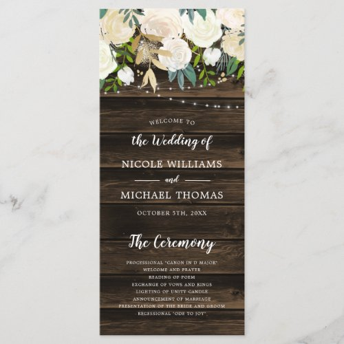 Rustic White Floral String Lights Wedding Program