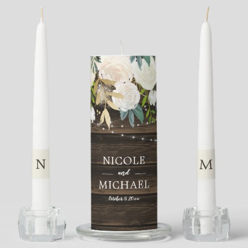 Rustic White Floral String Lights Wedding Unity Candle Set