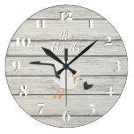 Rustic White Painted Board Coastal Seagull Large Clock