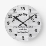 Rustic White Wood Home Quote Family Round Clock