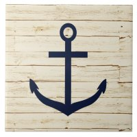 Rustic White Wood with Anchor Ceramic Tile   Zazzle