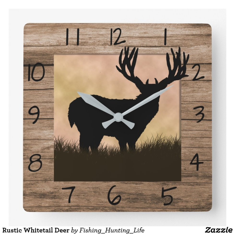 Rustic Whitetail Deer Square Wall Clock