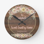 Rustic Wildflowers Country Round Clock