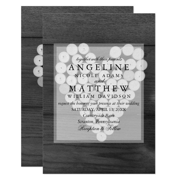 Rustic Wine Cork Heart Vineyard Wedding Invitation