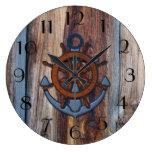 Rustic Wood Anchor Nautical Wall Clock