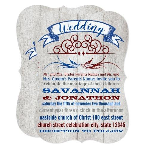 Rustic Wood Burgundy Blue Vintage Lovebird Wedding Invitation