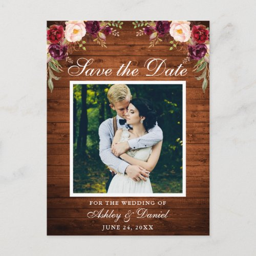 Rustic Wood Floral Burgundy Save the Date Photo Announcement Postcard