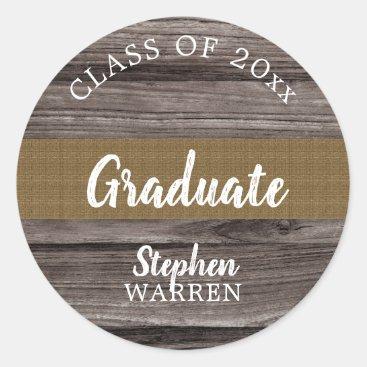 Rustic Wood Look Graduate Class of 2018 | Name Classic Round Sticker