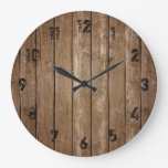 Rustic Wood Look Planks Large Clock