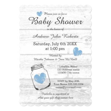 Rustic wood mason jar boy baby shower invitations