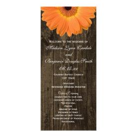Rustic Wood Orange Gerber Daisy Vertical Wedding Programs