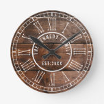 Rustic Wood Pallet White Roman Numeral  Family Round Clock