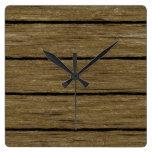 rustic wood planks 15216 square wallclocks