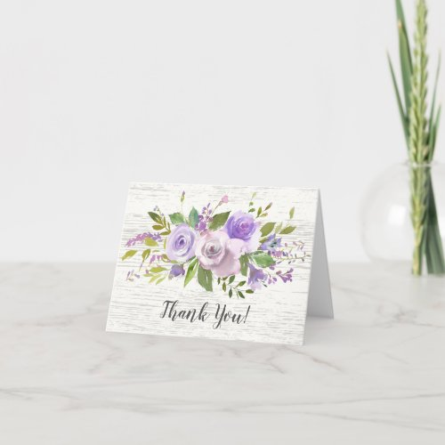 rustic Wood Purple Floral Bridal Shower Thank You