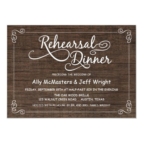 Rustic Wood Rehearsal Dinner Invitations