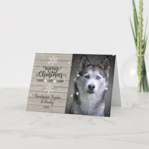 Rustic Wood Snowflakes Christmas Dog Photo Card