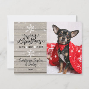 Rustic Wood Snowflakes Christmas Dog Photo Card
