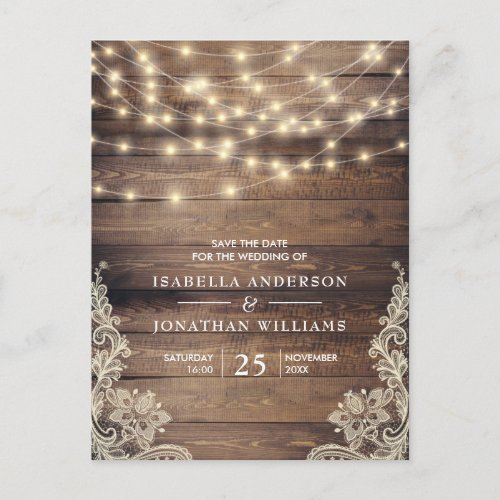 Rustic Wood &amp&#x3B; String Lights   Lace Save The Date Announcement Postcard