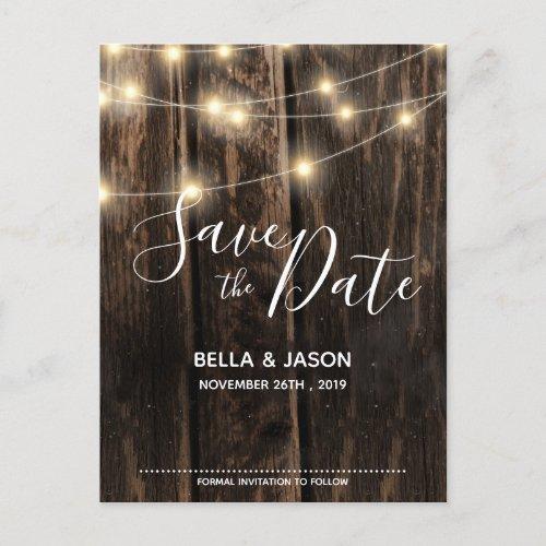 Rustic Wood String Lights Wedding Save The Date Invitation Postcard
