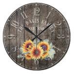 Rustic Wood Sunflowers Custom Family Name Clock