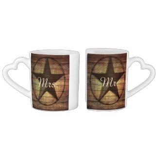 rustic wood texas star western wedding mr and mrs couples' coffee mug set