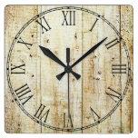 Rustic Wood Texture Square Wallclock