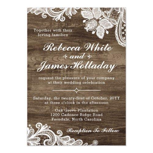 Rustic Wood &amp&#x3B; Vintage Lace Wedding Invitation