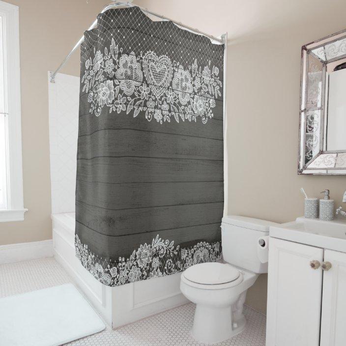 rustic wood white lace lacy farmhouse shower curtain zazzle com